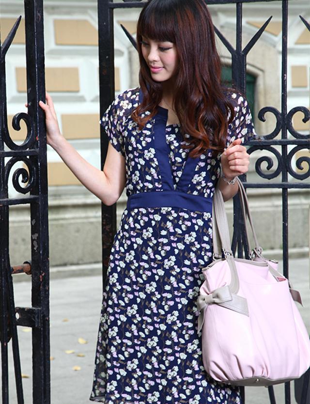 【TIME SALE】授乳服マタニティウェア サテントリミングフラワープリント授乳ワンピース sw9244