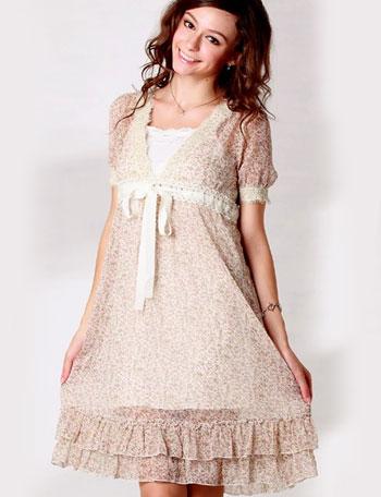 小花シフォン授乳ワンピース(インナー付き) sw9309 授乳服マタニティウェア