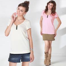 授乳服マタニティ ジップ付きビビットカラー授乳Tシャツ(ミリアム) sw9373 半袖