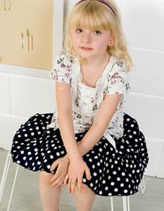 スウィートフェアリーズ ドットプリント&ウエストリボンスカート ベビー服&子供服[yy8004]