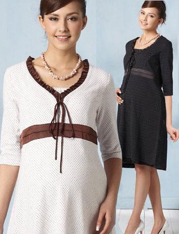 授乳服マタニティウェア ピンドット授乳ワンピース(エミリー) 5分袖 ma10003 ドレス