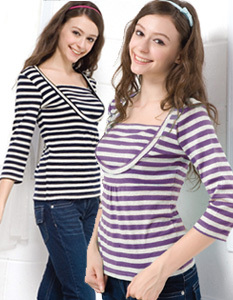 クルーネックボーダーTシャツ 【ケイト7分袖】 授乳機能付き  授乳服[ma8109]