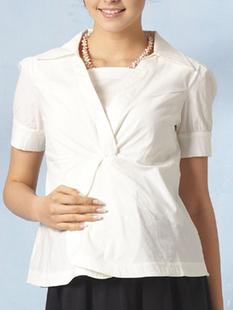 ツイストデザイン授乳ブラウス(半袖) 授乳服&マタニティウェア[ma9079]
