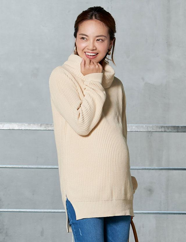 【おすすめニット】授乳服マタニティウェア オーガニックコットン 100%ニット 裾スリット タートルニットチュニック mk5044