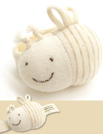 【日本製】オーガニックコットン リストガラガラ みつばち POMPKINS ポプキンズ 出産祝い ppy-1195