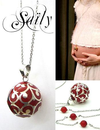 Saily ボラスメロディボールネックレス グラムール レッド×シルバー sa1100dxb3 妊婦さんへのプレゼントに!胎教にもよい美しい鈴音
