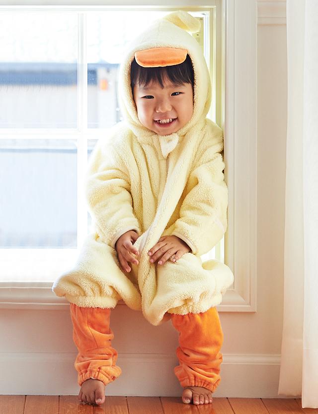 素肌に優しいオーガニックコットン&ふわふわマシュマロボア素材!年賀状や初詣におすすめ とりさんジャンプスーツ sb6084 赤ちゃん/ベビー/着ぐるみ/ベビー服/カバーオール/レッグウォーマー付き
