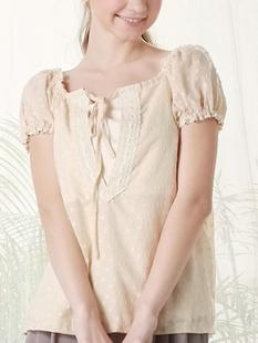 オーガニックコットン 水玉ローンブラウス 授乳キャミのセット 授乳服&マタニティウェア[sf1021]