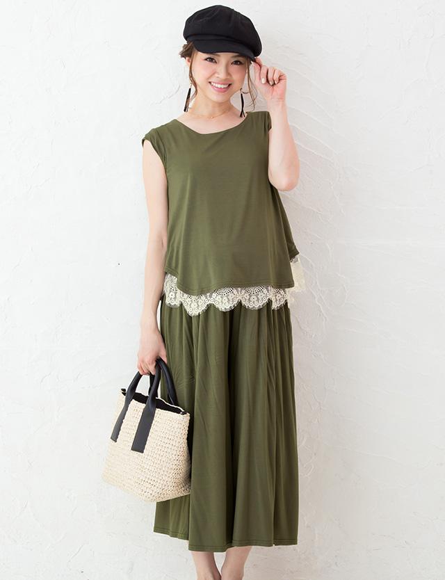 加藤夏希プロデュース バンドスリーブ&スカンツ セットアップ sj6059 授乳服/マタニティウェア
