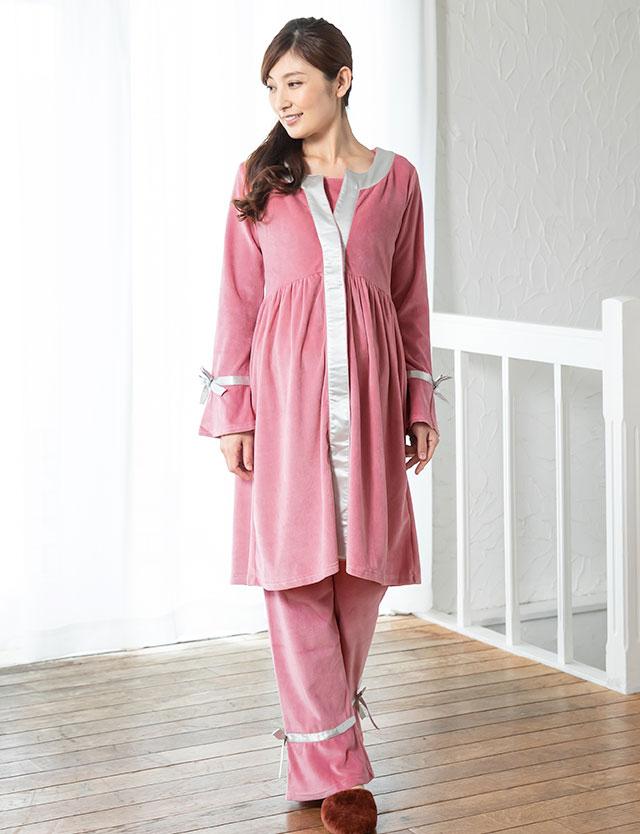 【クリアランス】贅沢なコットンベロア素材のサテンパイピング授乳ナイティ 3点セット sn3088 授乳服/入院準備