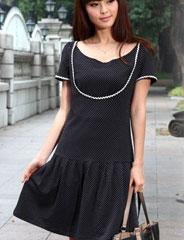 【S】授乳服マタニティ プチパフスリーブミニ授乳ワンピース(ルナ)半袖 so0189