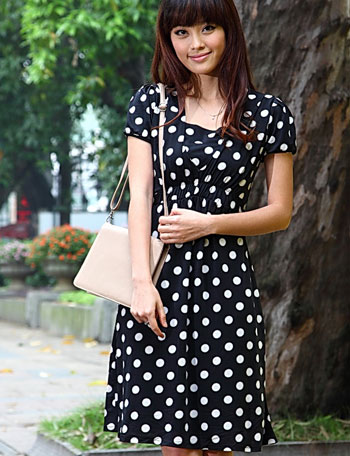 授乳服マタニティウェア フォーマル ドット柄フロントギャザー授乳ワンピース(フロランス) so0233