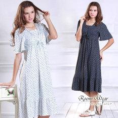 授乳服マタニティ リボンプリント授乳機能付きルームドレス so1107 ルームウェア/ワンピース/マタニティウェア