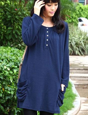授乳服マタニティウェア ギャザーポケット チュニック授乳トップス(ジェニー) so1388 長袖