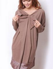授乳服マタニティ 裾サテンフロントリボンドルマンチュニック so2043