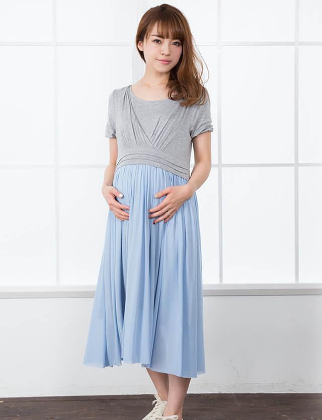 【SALE~1/25】授乳服マタニティウェア チュールレース切り替え 半袖ロングワンピース so2056 マタニティウェア