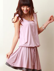 授乳服 しなやか素材 配色ノースリーブ授乳ワンピース so2071 カジュアル