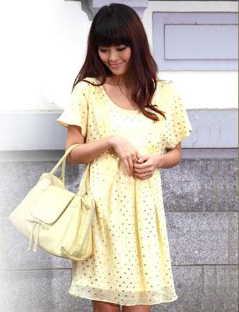 授乳服マタニティ パステルカラーが軽やか シルバードットシフォン授乳ワンピース so2178