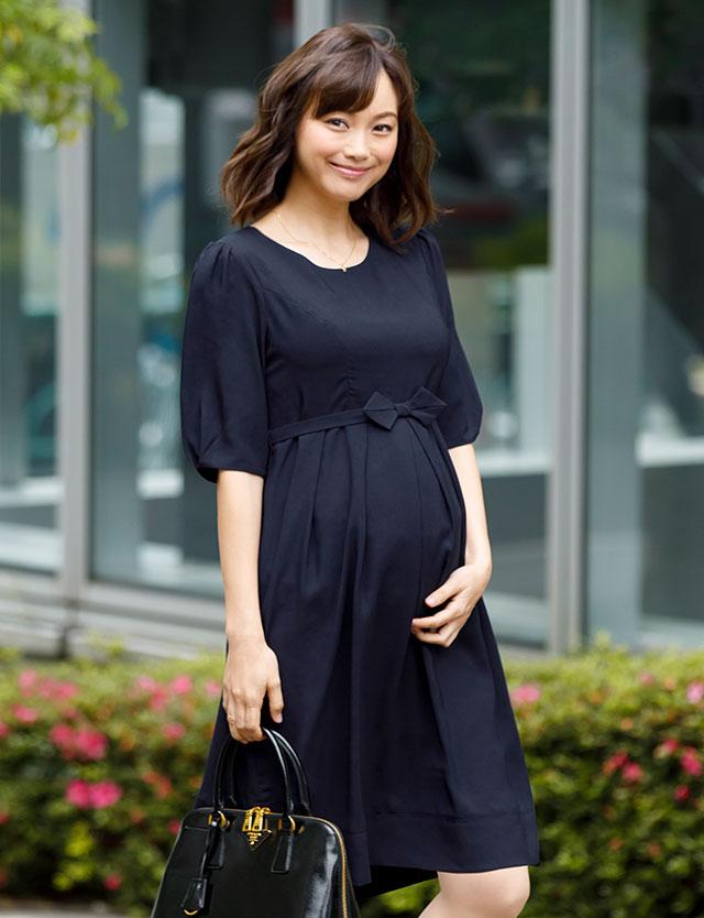 【送料無料~6/8】ジョーゼット素材 リボンベルト付きフォーマル 授乳ワンピース so5098 授乳服マタニティウェア