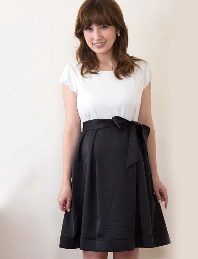 熊田曜子さんおすすめ!授乳服マタニティウェア チリメン×サテンコンビ バイカラードレス so5131