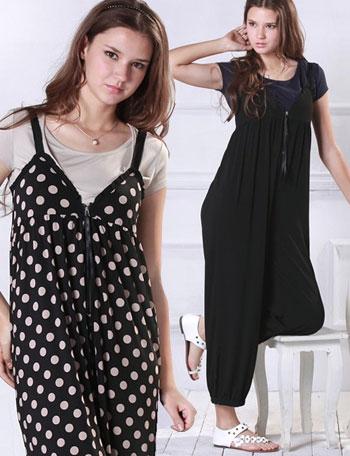授乳服マタニティウェア グログランテープミニフリル付き授乳サロペット(インナー授乳Tシャツセット) sp1038 オールインワン
