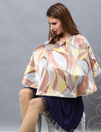 幾何学柄 サテンプリント授乳ケープ sp2183 ナーシングケープ/出産準備/授乳フォーマル