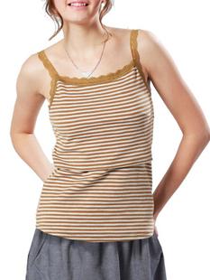 お肌に優しいオーガニックコットンの授乳レイヤー ボーダー授乳タンクトップ 授乳服&マタニティウェア[st0050]