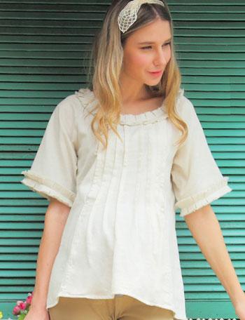 授乳服マタニティウェア タックフリル ダンガリー 授乳ブラウス st4086 コットン100%の肌触りが心地よいオーバーブラウス