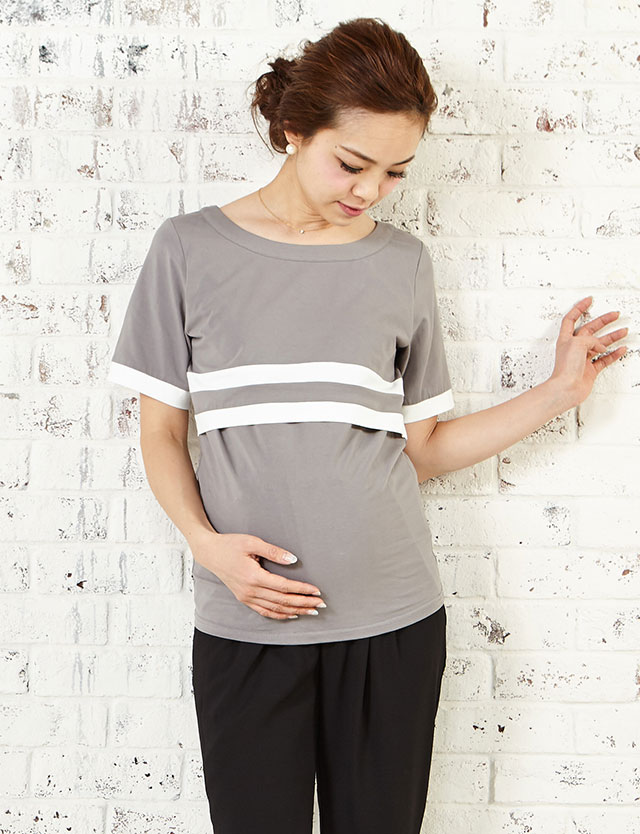授乳服マタニティウェア Wラインデザイン ラウンドネック 授乳Tシャツ st6034 産前産後長く活躍!授乳服トップス