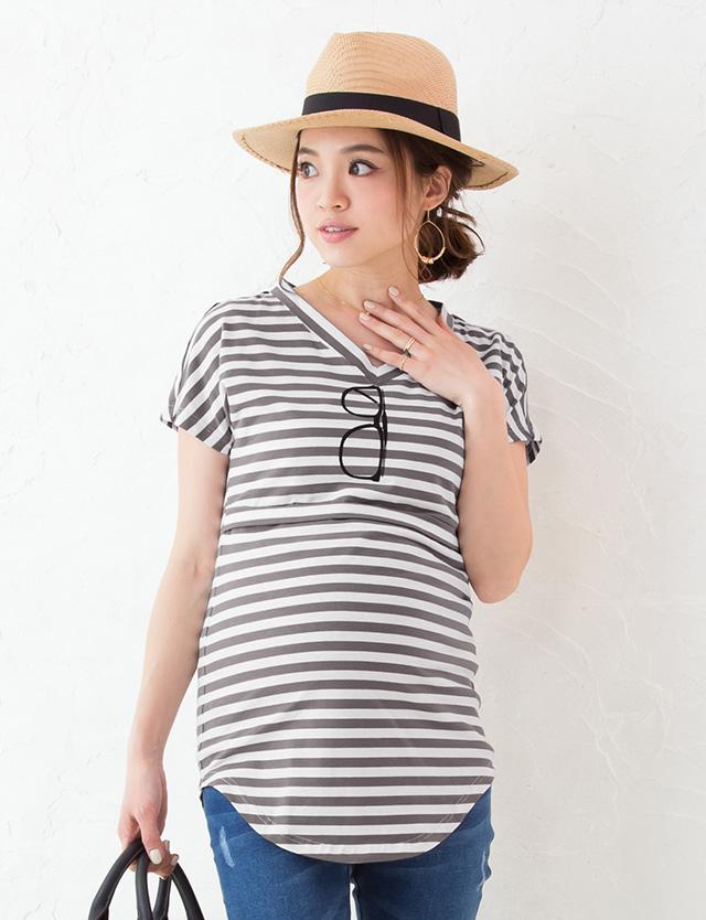 【SALE~3/30まで】サングラスプリント授乳Tシャツ st6055 授乳服マタニティウェア/メガネTシャツ/だまし絵T