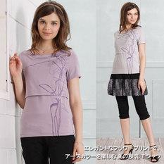 フラワープリント 授乳Tシャツ 授乳服&マタニティウェア[sw9184]