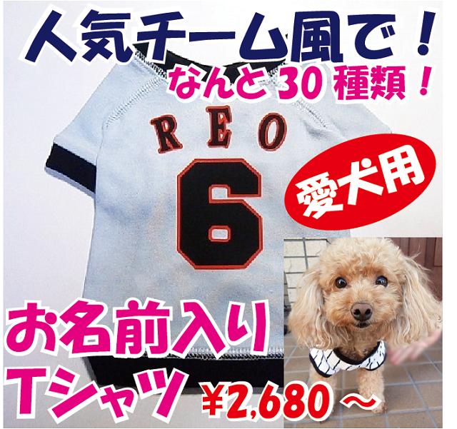 お名前入り!「人気チーム風」愛犬の野球ユニフォーム 名入れTシャツ セミオーダー ペット用 犬 猫 ギフトにも!
