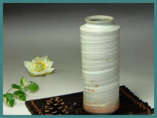 伝統的工芸品萩焼・花入刷毛青肩衝・簡易包装対応