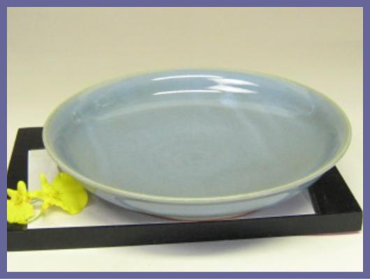 萩焼(伝統的工芸品)平皿青釉丸