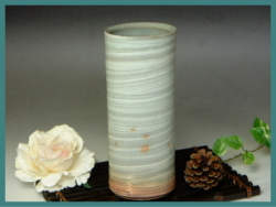 伝統的工芸品萩焼・花入刷毛青筒・簡易包装対応