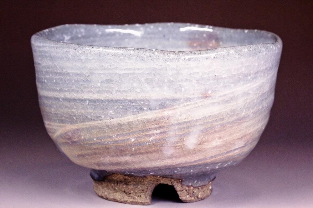 萩焼(伝統的工芸品)抹茶碗刷毛青荒半筒形