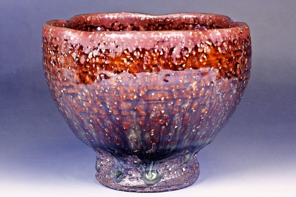 萩焼(伝統的工芸品)抹茶碗鉄赤釉荒呉器形輪花