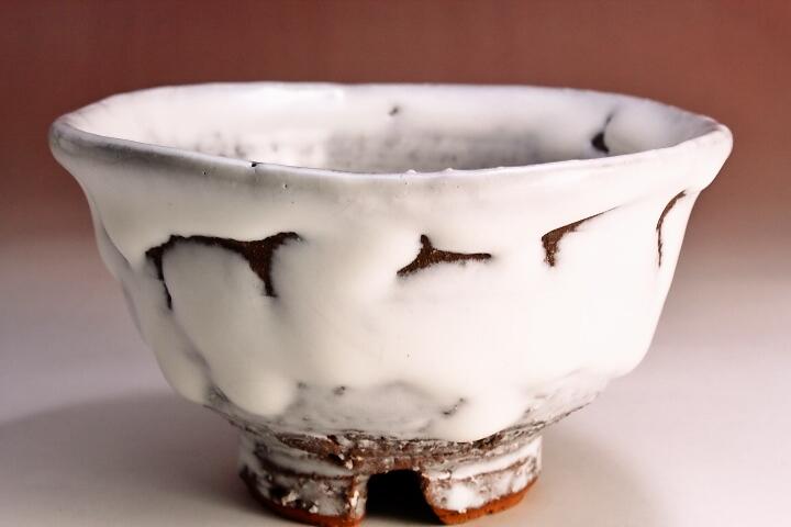 萩焼(伝統的工芸品)飯碗鬼白荒松朝顔