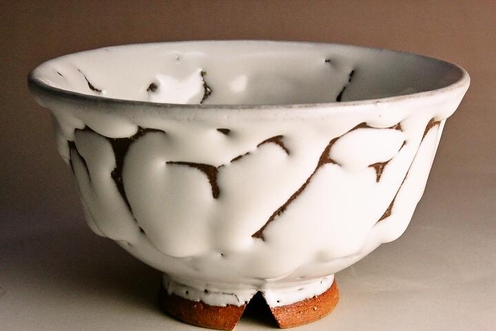 萩焼(伝統的工芸品)飯碗鬼白朝顔(松クラス)