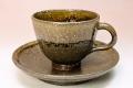 萩焼(伝統的工芸品)カップ&ソーサ鉄釉呉器