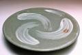 萩焼(伝統的工芸品)平皿刷毛青丸