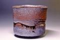 萩焼(伝統的工芸品)抹茶碗鉄赤釉荒半筒線彫