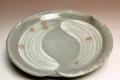 萩焼(伝統的工芸品)銘々皿刷毛青三つ葉