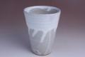 萩焼(伝統的工芸品)タンブラー白萩掛分け筒形大