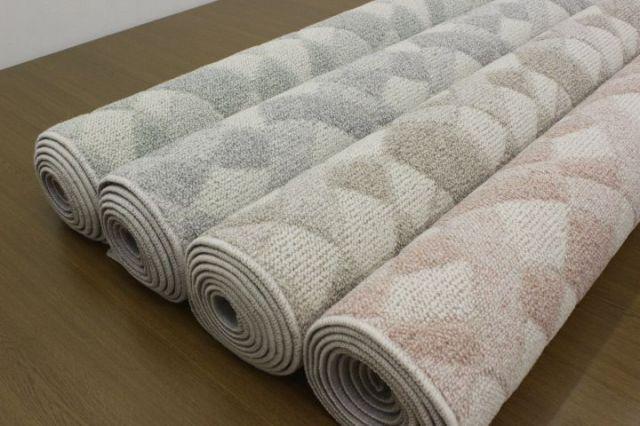 ウール カーペット 幾何学模様 絨毯 じゅうたん 日本製 人気  防炎 ウール100% 【品名 ウールイレブン】 江戸間 6畳 261×352cm