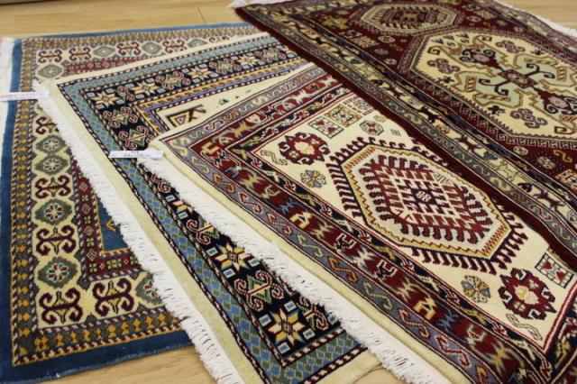 1ランク上のグレードです!パキスタン手織り緞通  ウール100% 玄関マット カーペット 【パキスタン手織り】 大判マット約80×130cm
