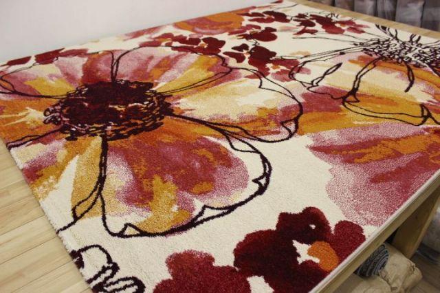 お値打ち品 ベルギー製 ウィルトン織り フラワー ラグ カーペット 絨毯 じゅうたん 【品名 インフィニティ#32041】 約1.5畳 133×195cm