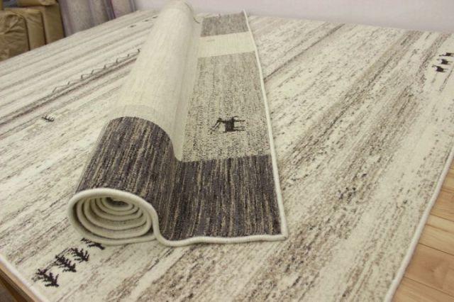 ≪最終値下げ!≫ハイグレード ギャベ柄 モンゴル製 ウィルトン織り 天然色 ウール100% カーペット じゅうたん/絨毯 ラグ 【品名 アルタイ&オルホン】 約1.5畳 140×200cm