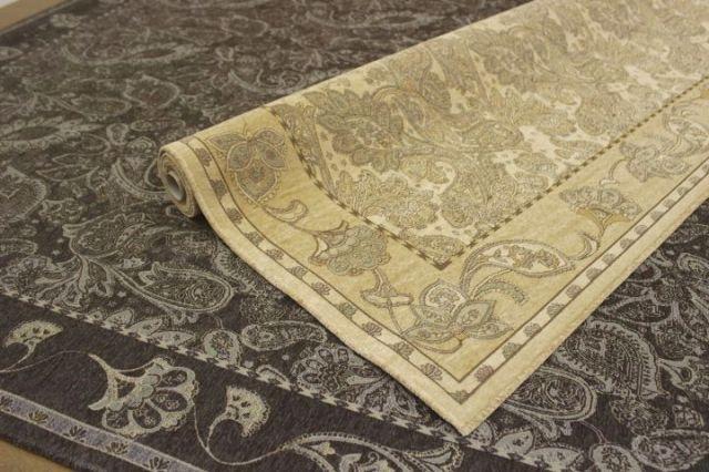 超お値打ち!ベルギー製 シェニールゴブラン織り ペイズリー柄 カーペット ラグ 絨毯 【品名 カディマ】 約6畳 240×330cm