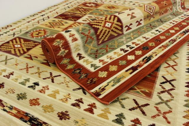 緊急値下げ 人気のキリム柄!スペイン製 ウィルトン織り カーペット ラグ 絨毯 【品名 テラ】 約1.5畳 140×200cm